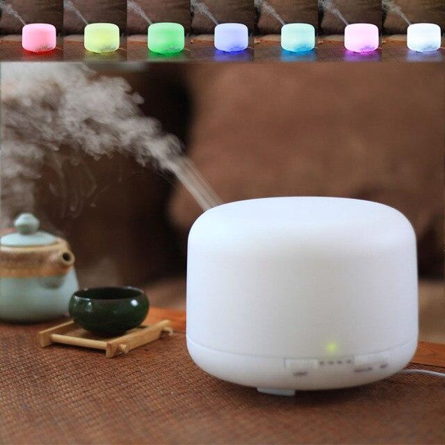 300 مللي زيت طبيعي ناشر رائحة 2 مستويات قابل للتعديل ضباب صانع بالموجات فوق الصوتية الهواء المرطب مع 7 ألوان LED ضوء الليل