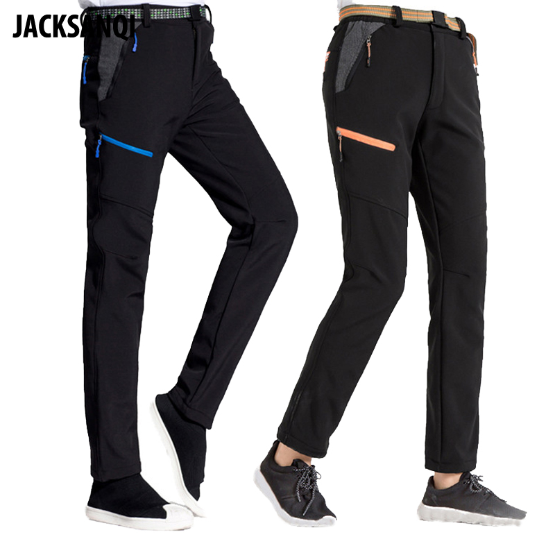 JACKSANQI New Men's Women's Winter Softshell Fleece Pants Outdoor Windproof Thermal Hiking Camping Climbing Sports Trouser RA226