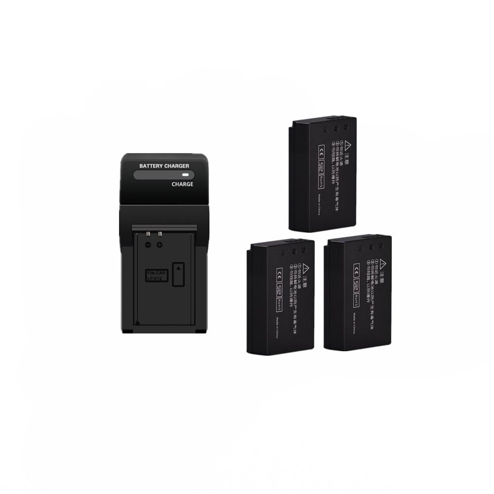 3pcs 920mAh LP-E12 LPE12 LP E12 Camera Battery AKKU + Charger for Canon M 100D Kiss X7 Rebel SL1 EOS 750D M10 EOS M50 DSLR set