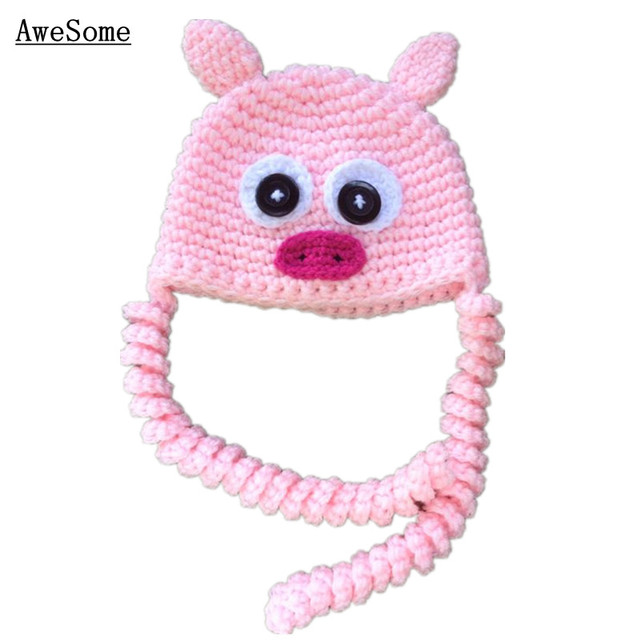 Pink Penny Pig Hathandmade Knit Crochet Baby Girl Cute Animal