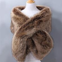Роскошный брендовый женский шарф из искусственного лисьего меха, большой размер, плотное теплое зимнее пончо для женщин, для свадебной вечеринки, Пашмина, Женская шаль, меховой палантин