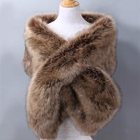 Luxury Brand Faux Fox Fur Scarf Women Large Size Thick Warm Winter Poncho Female Wedding Party Pashmina Women's Shawl Fur Stole