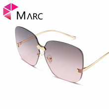 MARC 100%UV400 WOMEN MEN 2018NEW Brand Eyewear Shield Gradient Design Trendy Rimless Sunglasses Gafas Pink Oculos Alloy Resin