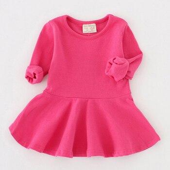 ילדי שמלה 2019 חדש אביב סגנון טהור כותנה falbala ארוך שרוולים שמלת תינוק צבעים בוהקים יפה נסיכת שמלת תינוקת שמלה