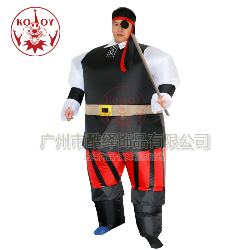 Inflatable Pirate Captain Sumo Party Suit Fancy Dress Hen Stag Costume With Hair