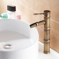Antique Bamboo shower tap Bathroom Faucet Antique bronze finish Brass Basin Sink Faucet Single Handle Bamboo Water Tap