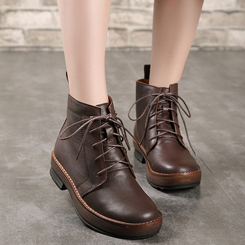 Round head leather women s shoes retro handmade flat with suede leather lace Martin boots non