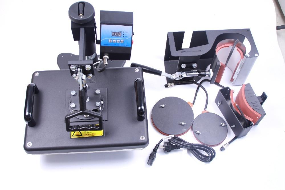 5 in 1 Combo Sublimation heat press transfer machine 5 in 1 Printing Mug Plate T-shirt Hat heat transfer machine