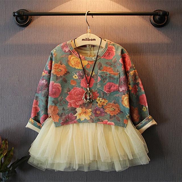 Girls' suits 2016 New arrival Autumn girls T-shirt + dress 2pcs clothing children's skirt suit girls clothing next girls