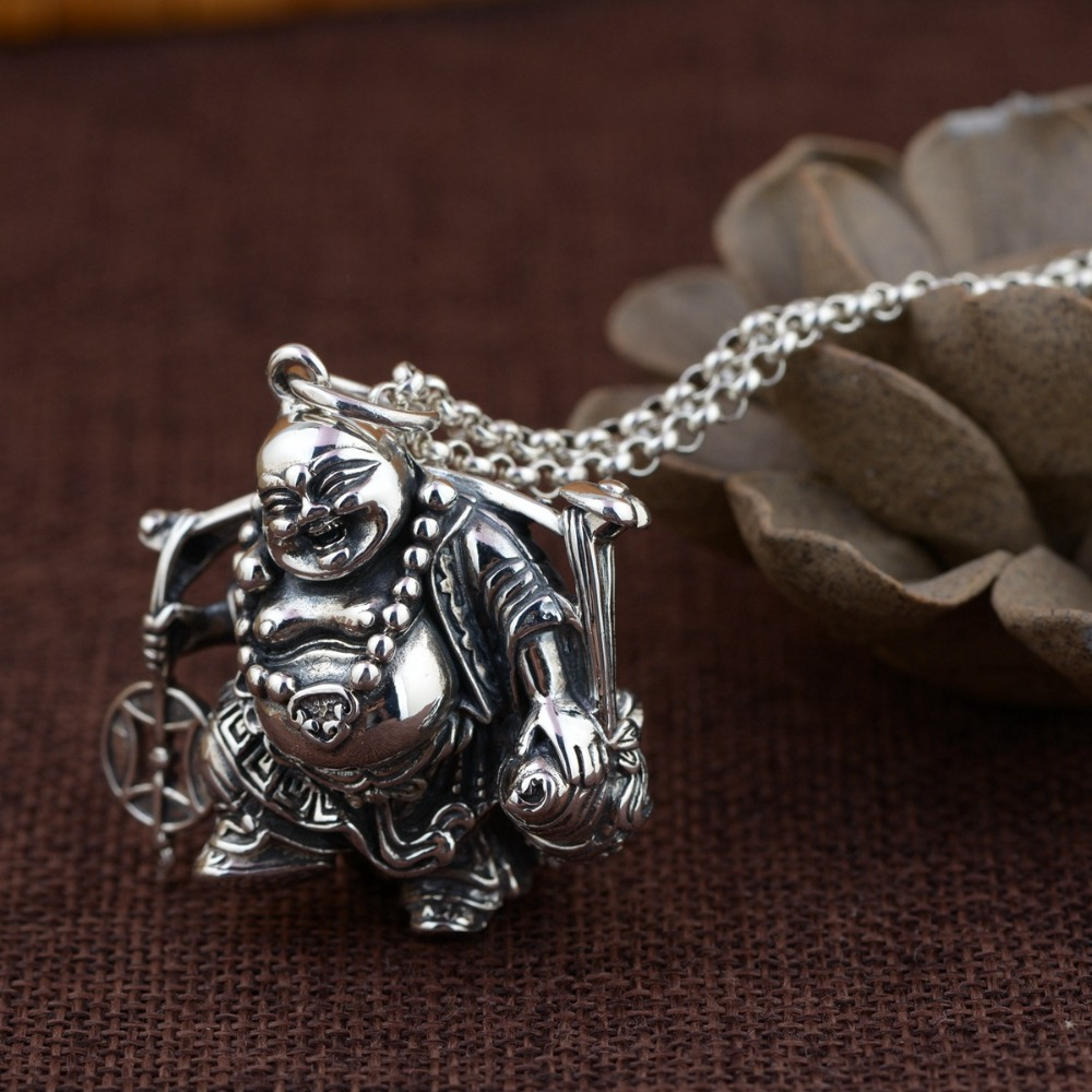 100 925 Silver Laughing Buddha Pendant Necklace Real Silver Wealth Happy Buddha Pendant Amulet Good Luck