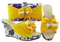 Flower yellow shoes and bag set african aso ebi wedding party shoe bag set matching slipper shoes clutches size 38 43 SB8195 1