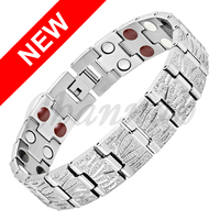 2015 Men 4in1 All Silver Titanium Bracelet Magnets Negative Ions Germanium Far Infra Red Bangle Free