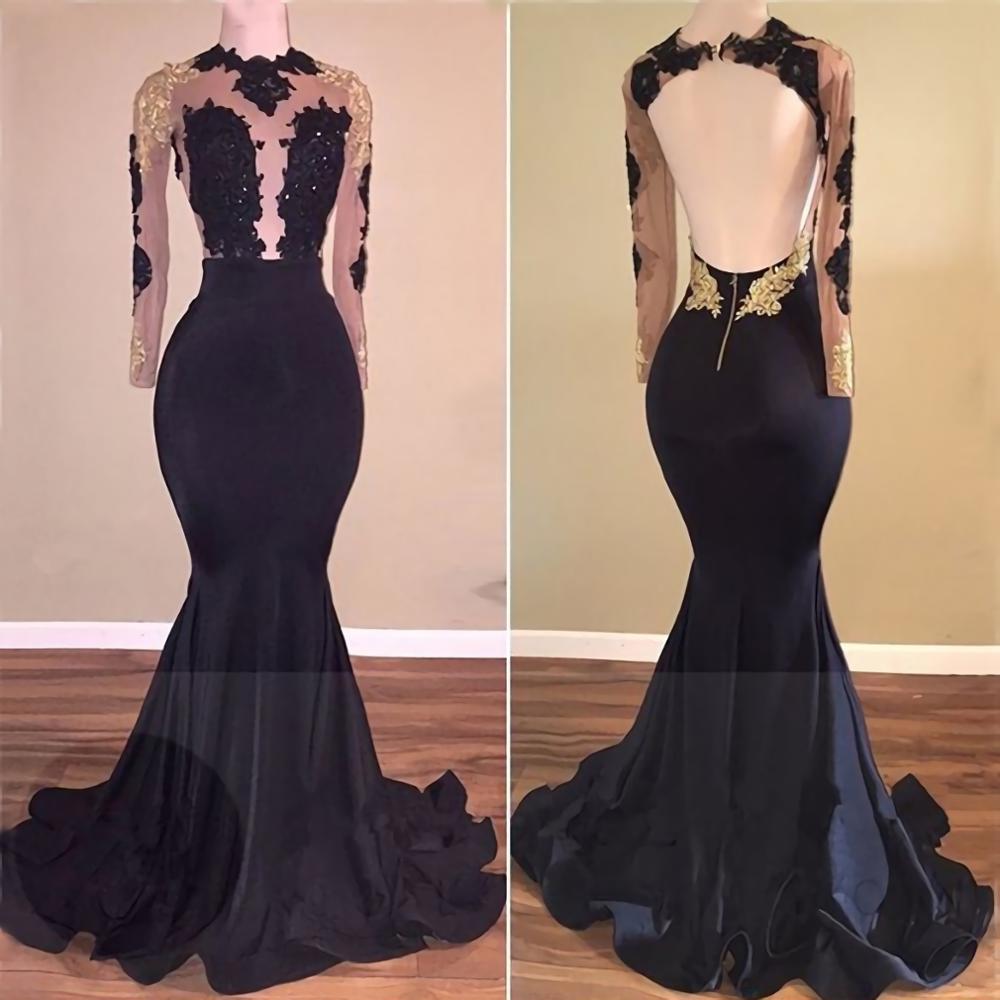 Back Open Plunging Neckline Mermaid Blue   Prom     Dress   Long 2019