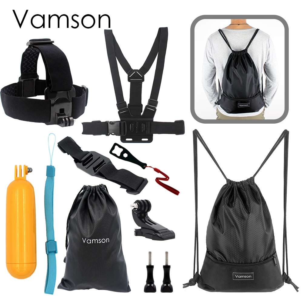 Vamson for Gopro Accessories 9 in 1 Kit Chest Body Strap Tripod Monopod Wrench For Gopro Hero 5 4 3 for Xiaomi for Yi VS19
