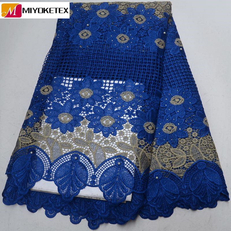 Best Quality African Guipure Cord Lace Fabric With Stones Latest Style Royal Blue African Cord Lace
