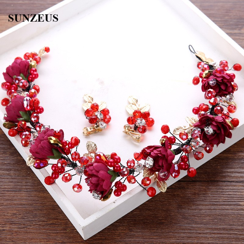 Hand-made Wine Red Flowers Headband Red Crystal Pearls Bridal Head Garland With Gold Leaves Hair Chain SQ0262-1