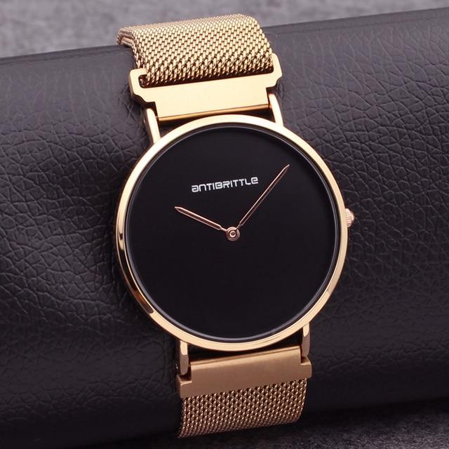 Luxury Brand Quartz Rose Gold Minimalist Watches Women Black Ultra Thin Stainless Steel Magnet Strap Antibrittle Wristwatch 36mm