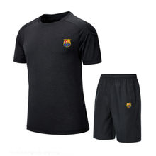 Barcelona 2019 2PCS Men Cotton T-shirt+Short Suit Casual O-Neck Male Short-sleeved Shirt Pant Set Black Men's Sweatshirt Suits(China)