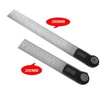 280mm/200mm digital transferidor ângulo localizador régua inclinômetro goniômetro nível ferramenta de medição eletrônico ângulo calibre