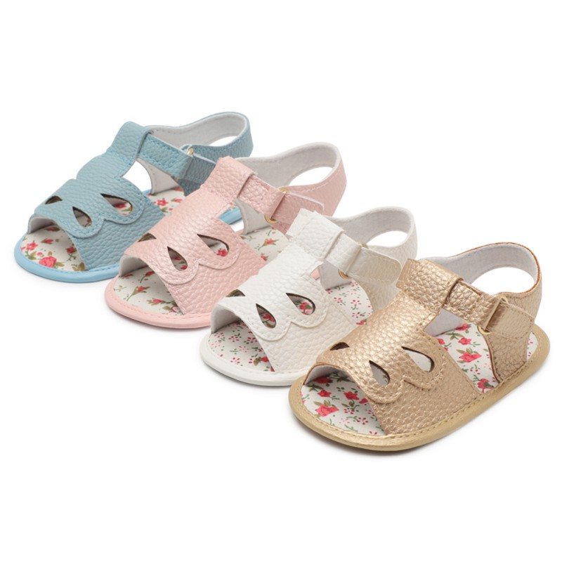 Summer PU Leather Solid Color Princess Shoes Water Drop Opening Baby Toddler The First Walker Shoes