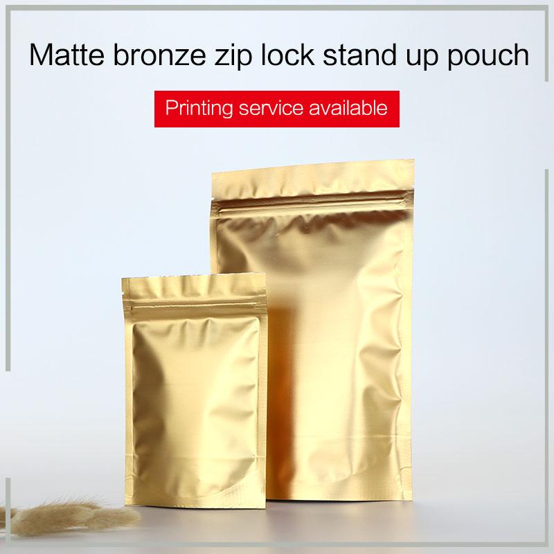 Matte Bronze Stand-up-Beutel mit Reißverschluss Aluminiumfolie VMPET Zip-Lock-Beutel Tee Snacks Kekse Lebensmittelverpackungen Taschen individuell bedrucken
