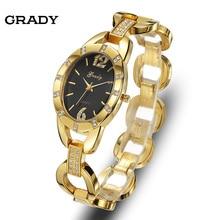 Грейди золотые женские часы продажи хорошее качество Золотые часы моды роскошь женщины кварцевые часы