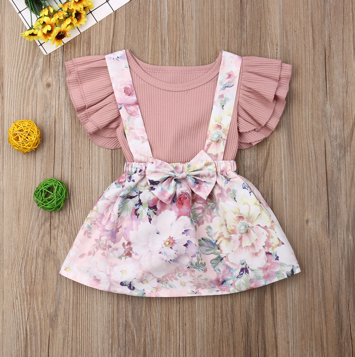 0376a1d11 Pudcoco Newborn Baby Girl Clothes Solid Color Ruffle Romper Tops Flower  Print Strap Skirt 2Pcs Outfits Summer Clothes