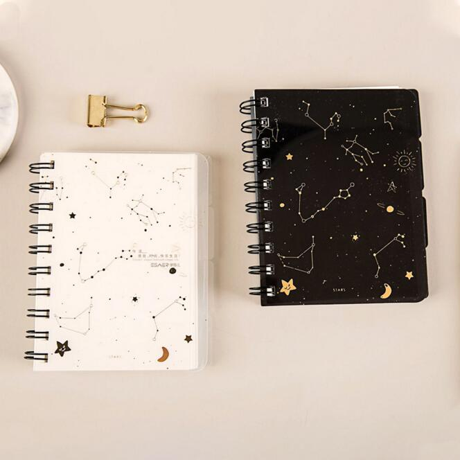 A5 A6 1PC Simple Lovely Star PP Coil Spiral Notebook And Journals Diary Weekly Planner With Separated Page Stationery Books