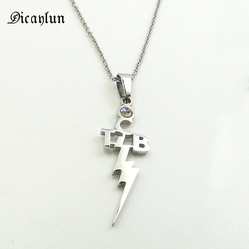 DICAYLUN Elvis Presley <font><b>Jewelry</b></font> Stainless Steel Pendant Necklace Zircon TCB Lightning Pendant <font><b>Jewelry</b></font> Accessories Gifts for <font><b>Fans</b></font> image