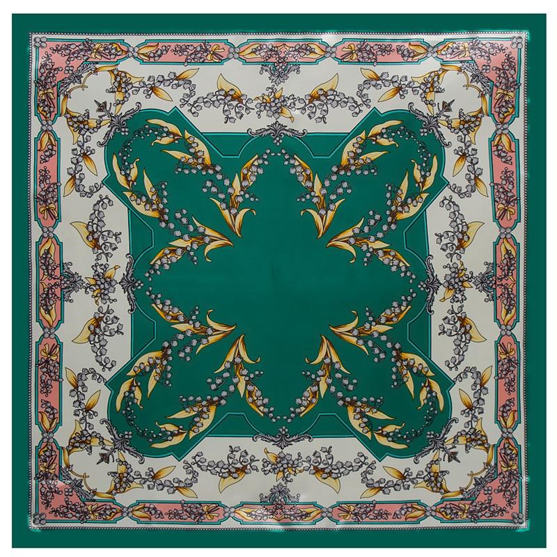 Модный прямоугольный шарф 2018 Новый Кампанула шелковый шарф для женщин хиджаб Роскошные брендовая шаль платки плед шарфы обертывания дам