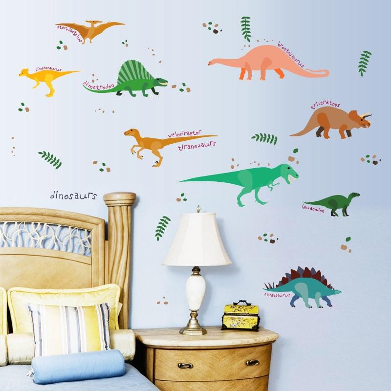 € 5.65 12% de réduction [Fundecor] original jungle dinosaure stickers  muraux pour enfants chambres bébé chambre décor cuisine salle de bains  papier ...
