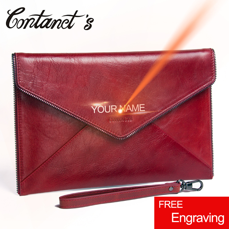 Contact's Envelope Clutch Bag Genuine Leather Bags Women 2018 New Luxury Brand Day Clutches Wristlet High Capacity Tote Handbag