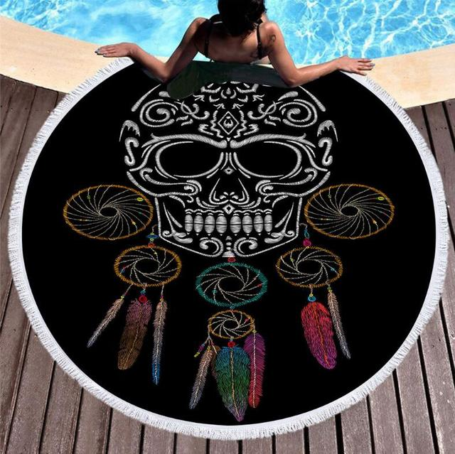 SKULL HEADPHONES ROUND BEACH TOWEL