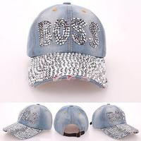 BOSS Point Drill Cowboy Baseball Cap Hot Sale Brand Hat Cap Fashion Women Drill Pointed Denim