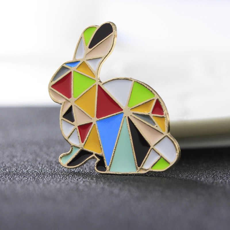 น่ารัก Origami นกกระต่าย Enamel Pin เข็มกลัดเคลือบ Pin ผู้หญิงแฟชั่นเด็กการ์ตูนสัตว์ปุ่ม Pins Denim Badge เครื่องประดับ