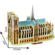Classic 3D Jigsaw Puzzle Paris France Notre Dame Cathedral Building World Construction Scale Models Sets City For Children