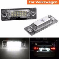 2pcs White 6500K Car T5 18 LED License Plate Lamp Rear Tail Light For Volkswagen VW