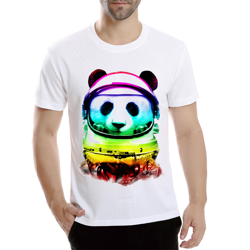 Mesh breathable white men t-shirt personality panda print short sleeve t shirt fashion anime camisa masculina Asian size 4XL