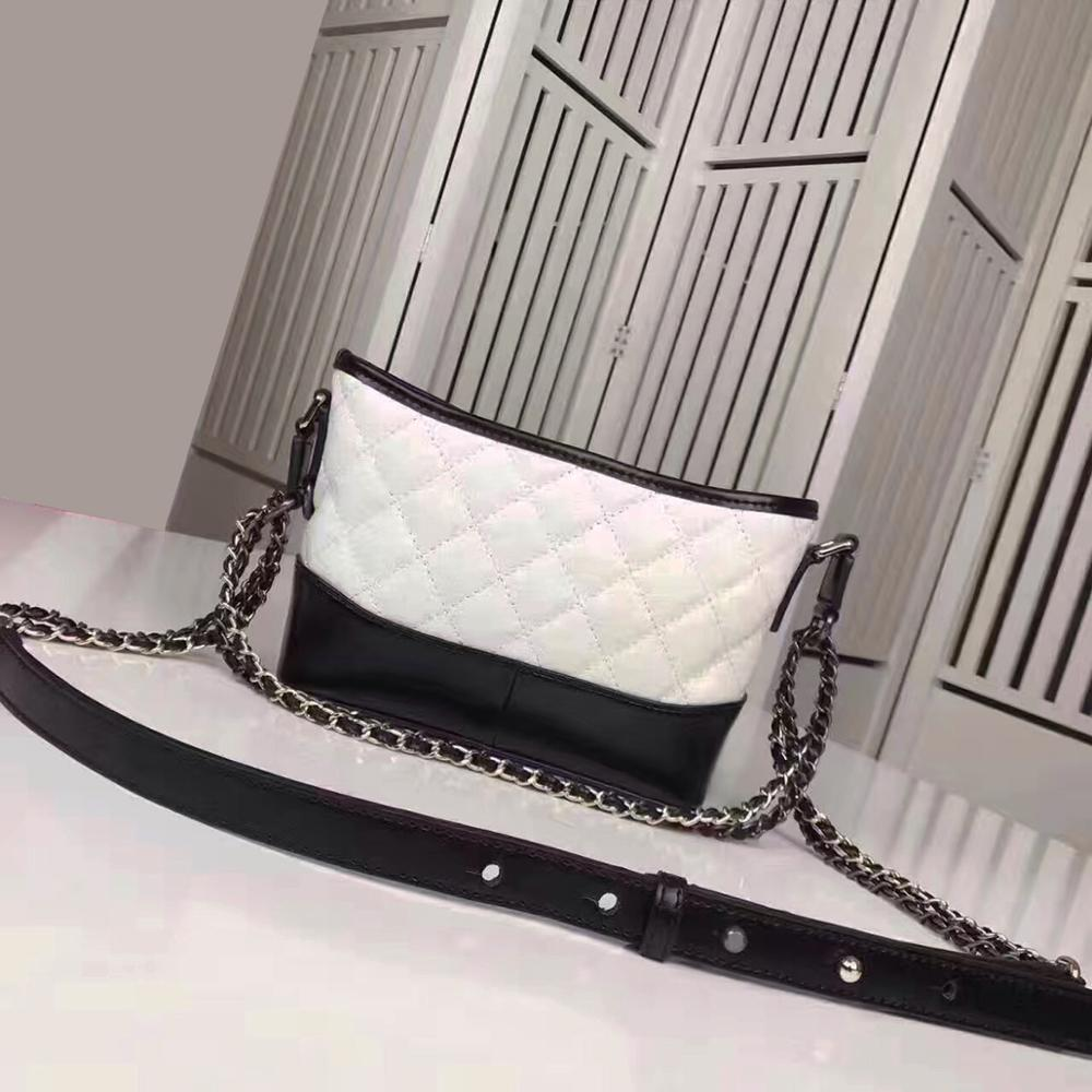 Hobo bags genuine leather luxury handbags women crossbody bags metal chain brand designer min caviar leather shoulder bags