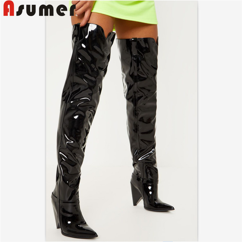 ASUMER 2019 hot sale new over the knee boots women pointed toe classic motorcycle boots women high heels prom shoes womanASUMER 2019 hot sale new over the knee boots women pointed toe classic motorcycle boots women high heels prom shoes woman