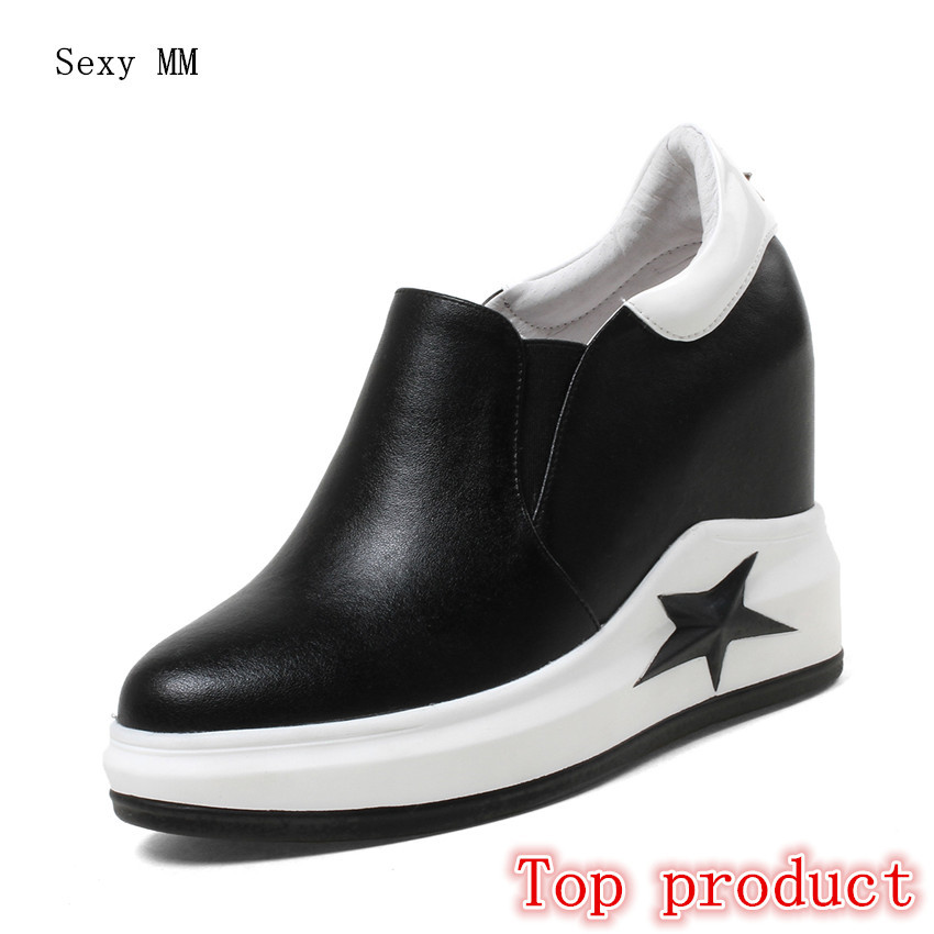 Genuine Leather Wedges Slip On Shoes Women Flats Loafers Wedge Casual Height Increasing Flat Walking Shoes Plus Size 33 - 40 de la chance women fashion platform shoes genuine leather slip on casual shoes loafers flatform wedge shoes skate ladies shoes