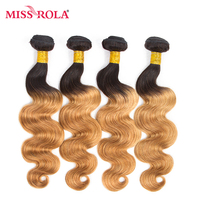 Miss Rola Hair Pre-colored Ombre Brazilian Body Wave Non-remy Hair 4 Bundles #T1B/27 Color 100% Human Hair Weaving  Extensions
