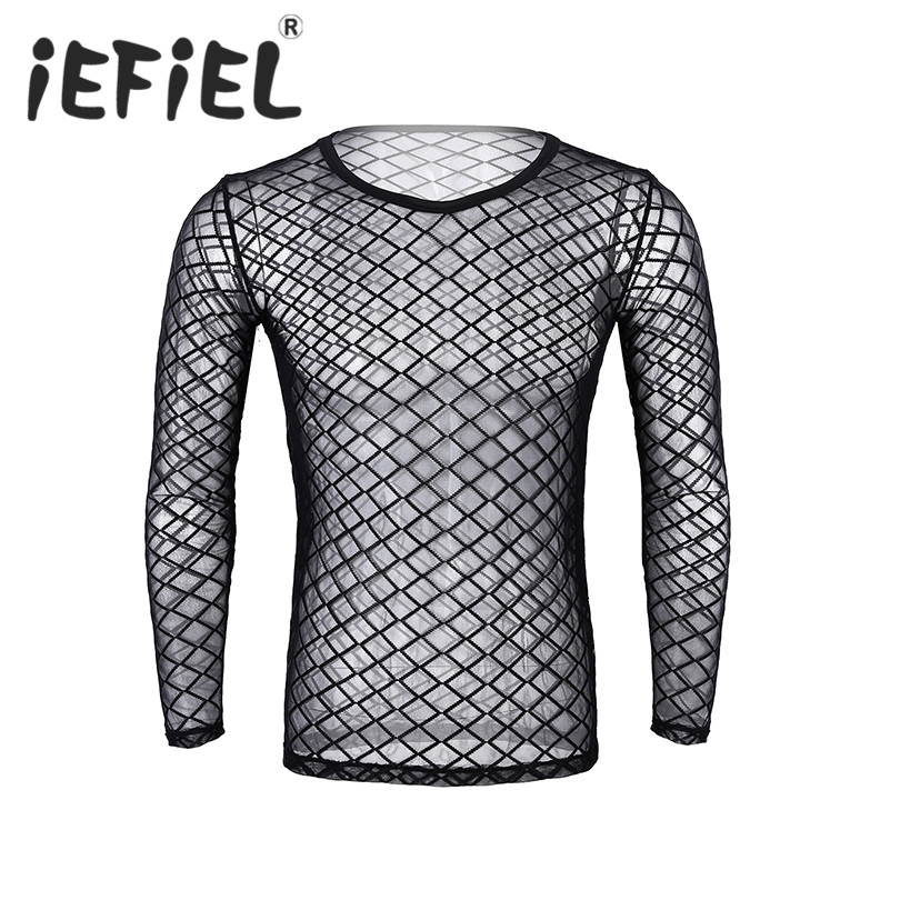 Sexy Male Mens See-Through Fishnet Sheer Round Neck Long Sleeve Pullover Club Wear T-Shirt Undershirt for Night Club Clothes