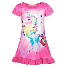 AmzBarley Girls Rainbow Unicorn Sleepwear kids Cartoon Printing Nightgowns Toddler Short Sleeves homewear Nightdress