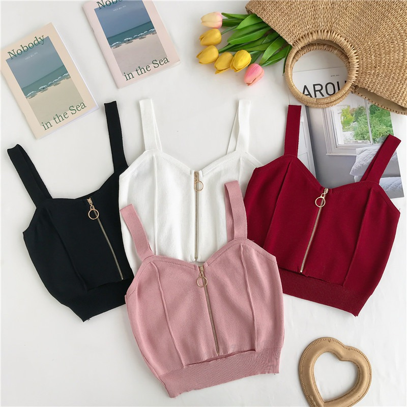 Women Summer Tank Tops Club Sexy V Neck Zipper Crop Top Girlish Knitting Camisole Ladies Sleeveless Solid Simple Tops Women 2019 in Camis from Women 39 s Clothing