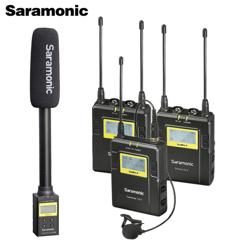 Saramonic UWMIC9 Broadcast UHF Camera Wireless Lavalier Microphone System Transmitters +One Receiver For DSLR Camcorder
