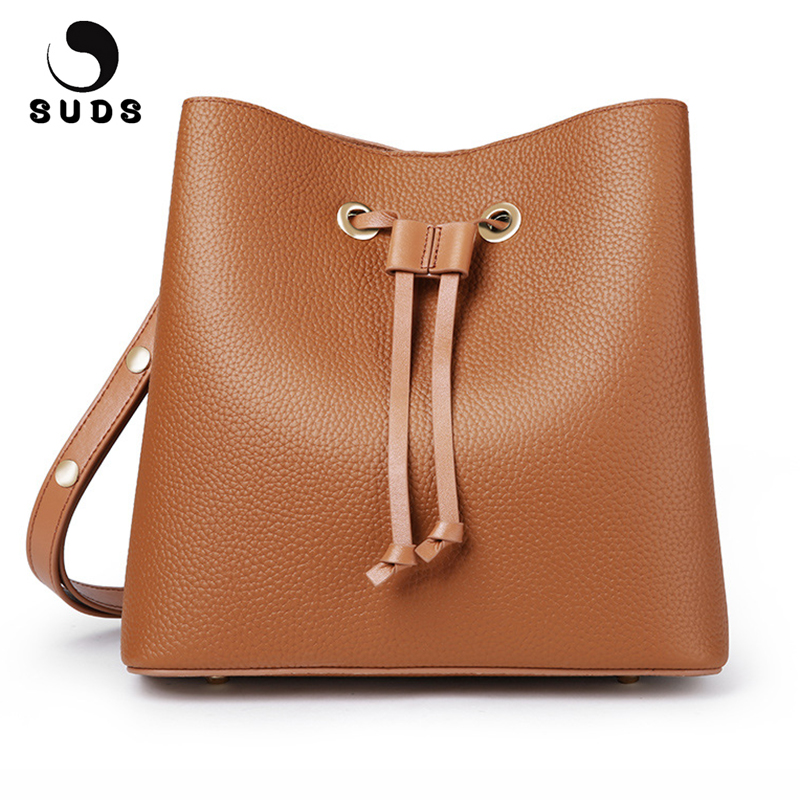 SUDS Brand Real Cow Leather Women Small Shoulder Bags Fashion Female Genuine Leather Bucket Bag Women Solid String Crossbody Bag цена