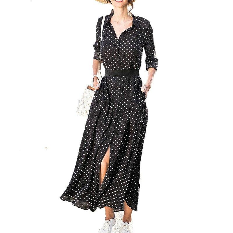 CUERLY Polka Dot Dress 2019 New Beach Ladies Vintage Summer Chiffon Dresses Long Sleeve Slim Bow belt Woman Shirt Maxi Dress in Dresses from Women 39 s Clothing
