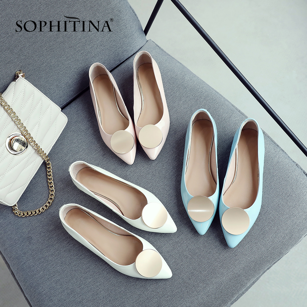 SOPHITINA Women s Large Size Flats New Cow Leather Solid Slip On Casual Spring Shoes Fashion