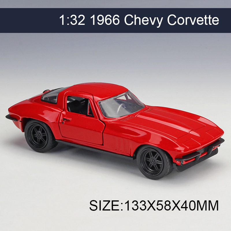 1:32 Diecast Model Car 1966 Chevy Corvette Vehicle Play